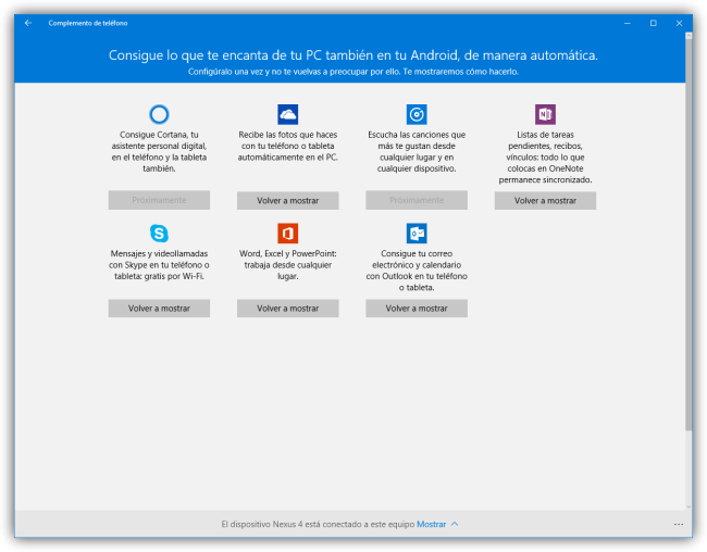 Complemento de telefono - Conectar Android a Windows 10 - Apps conectadas