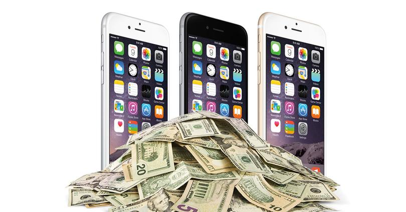 iPhone 6 con billetes de dólar