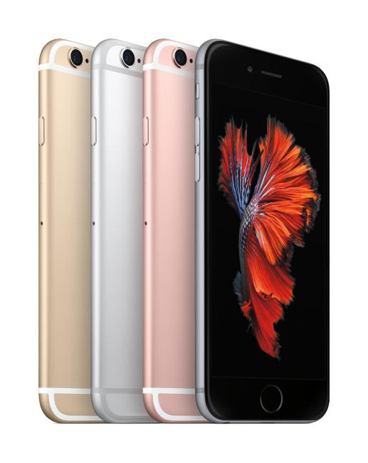 iPhone 6s en coloración oro, gris, rosa y plata