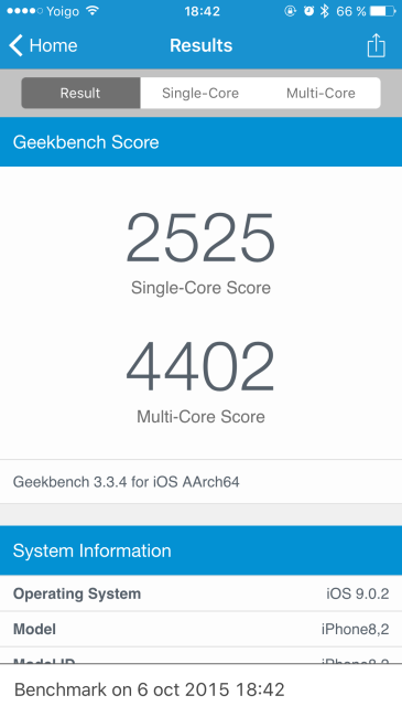Prueba GeekBench iPhone 6s Plus
