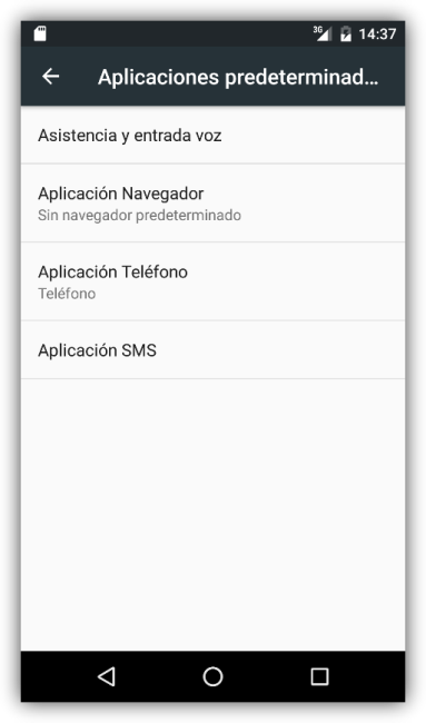 Android 6.0 Marsmallow - Cambiar aplicaciones por defecto - aplicaciones disponibles