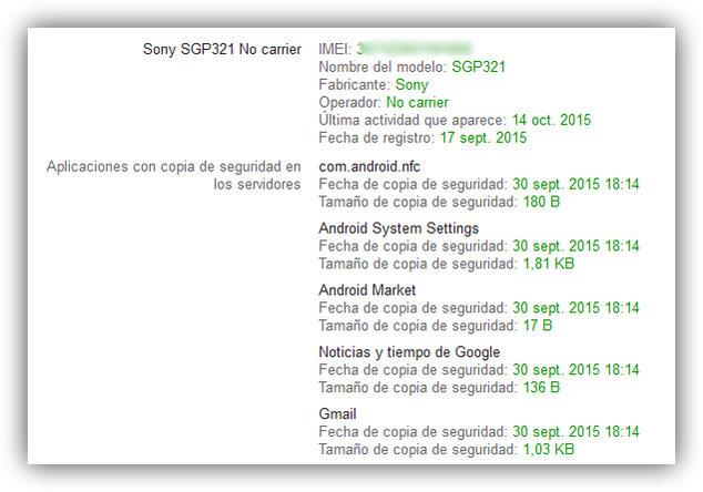 Datos de Android sincronizados en la copias de seguridad de Google