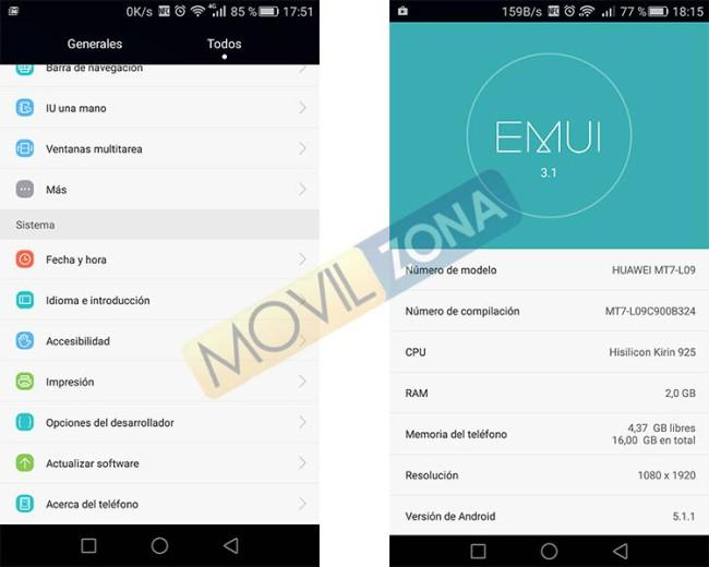 Android 5.1.1 Lollipop en el Huawei Ascend Mate 7
