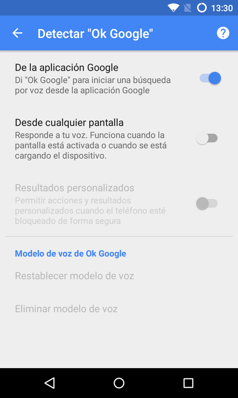 configura correctamente el reconocimiento de voz en google now. Black Bedroom Furniture Sets. Home Design Ideas