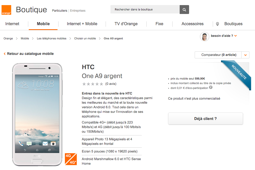 HTC One A9 en la tienda de Orange Francia