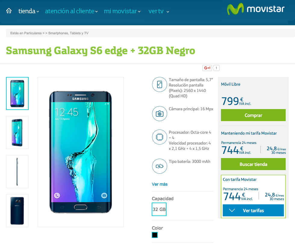 Samsung Galaxy™ S6 edge plus movistar