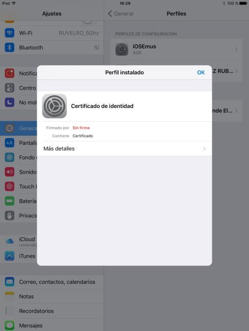 Certificado instalado en iPhone o iPad