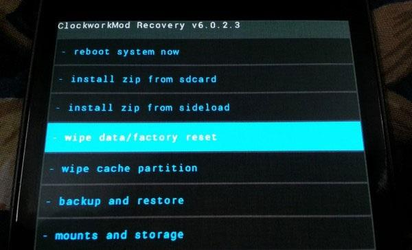 Recovery Android - Wipe