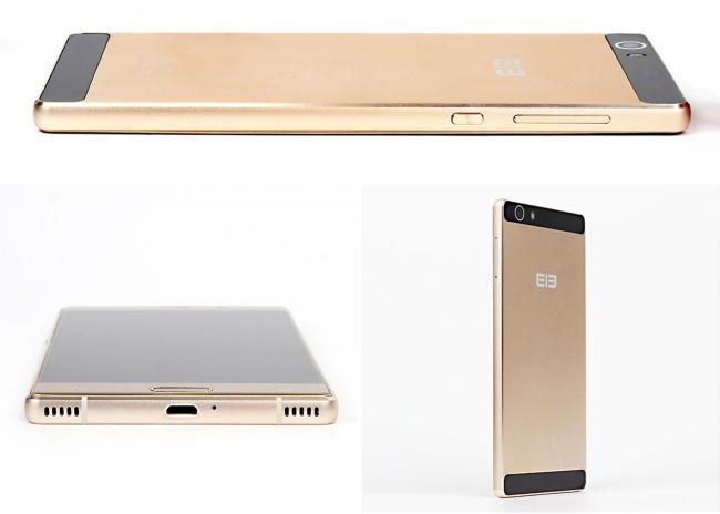 Elephone M2 oro frontal, lateral y trasera