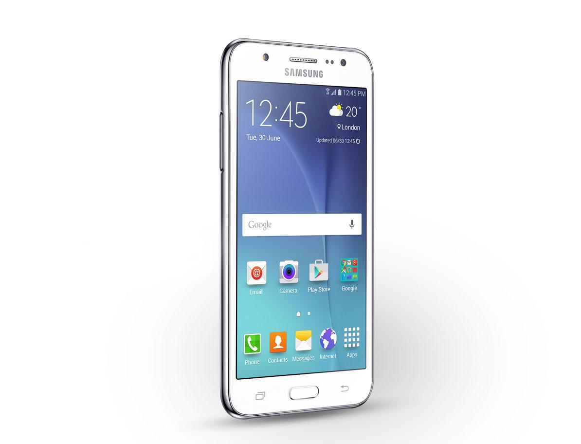 Samsung Galaxy J5 blanco vista frontal