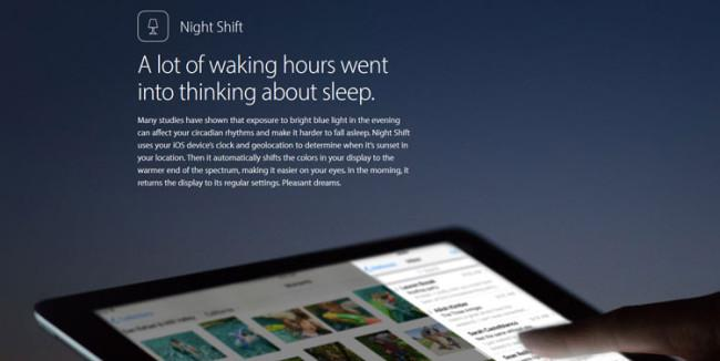 Modo Night Shift de iOS 9.3