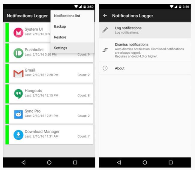 Registro de notificaciones por la app Notifications Logger