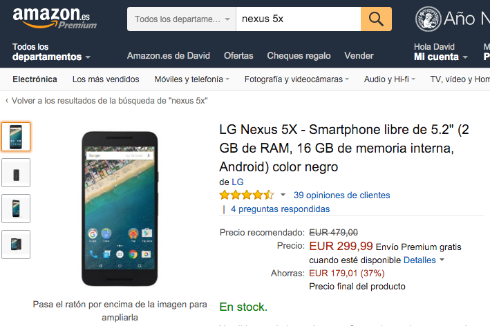 oferta nexus 5x amazon