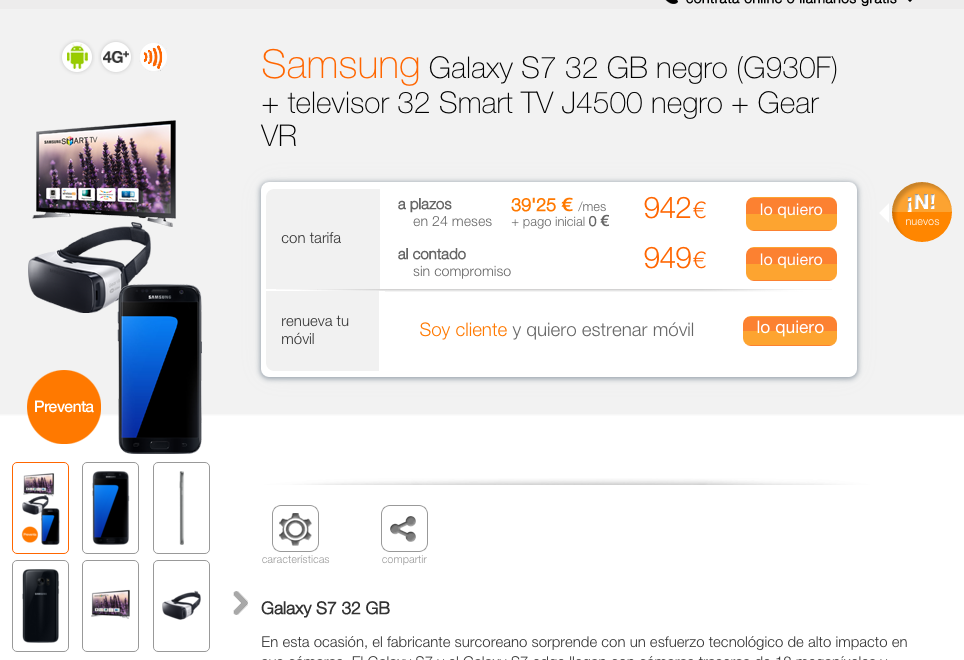 Oferta Galaxy S7 más TV en Orange