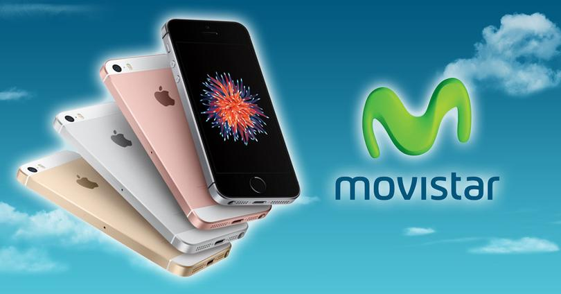 iPhone SE con logo de movistar