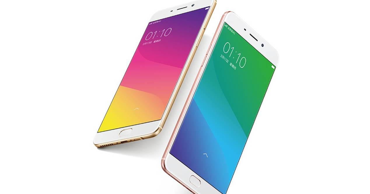 Oppo R9 y Oppo R9 Plus inclinados