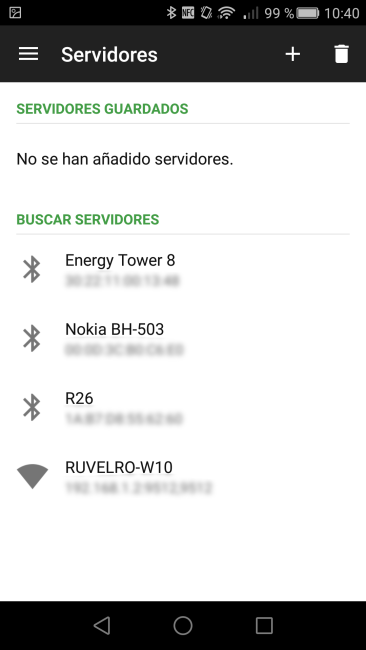 Unified Remote - Servidores disponibles