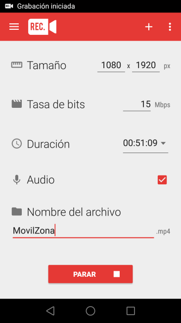 Android Rec. Screen Recorder - Grabación Iniciada