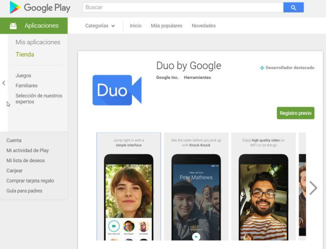 App de Google Duo en Google Play