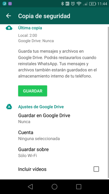 Copias de seguridad en WhatsApp