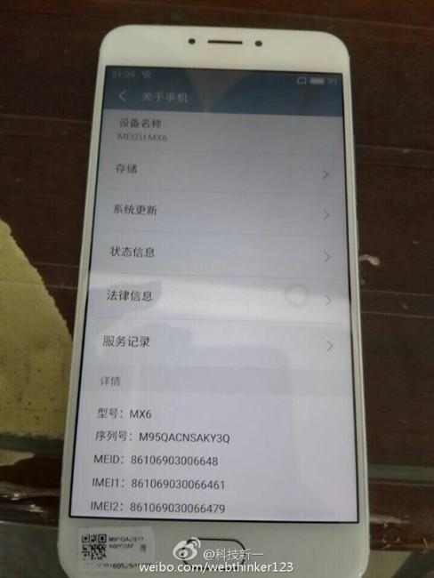 Meizu MX6 en color blanco