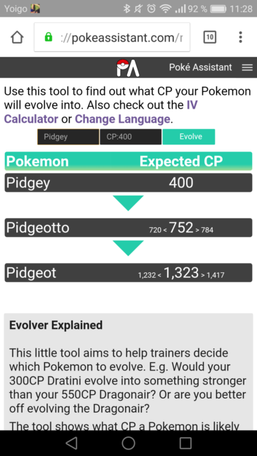 Pokemon evolve calculator