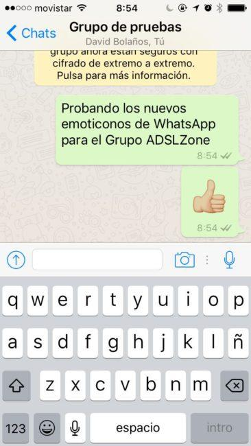 Emoticono gigante en WhatsApp para iOS