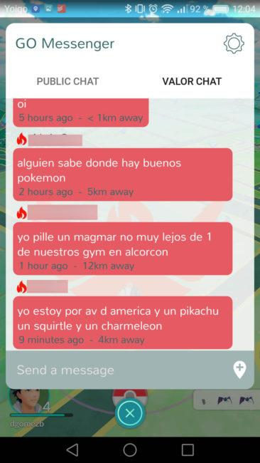 Go Messenger chat dentro de juego