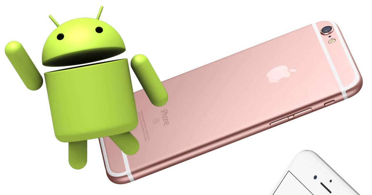 iphone 6s con robot de android