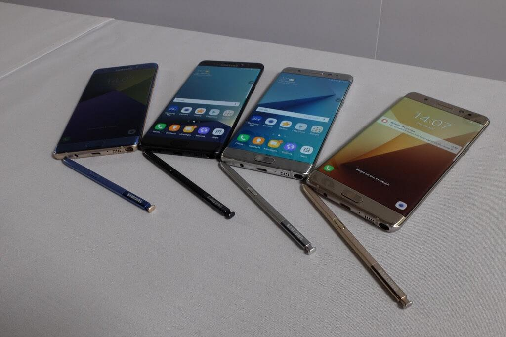Samsung Galaxy Note 7 colores frontal con punteros