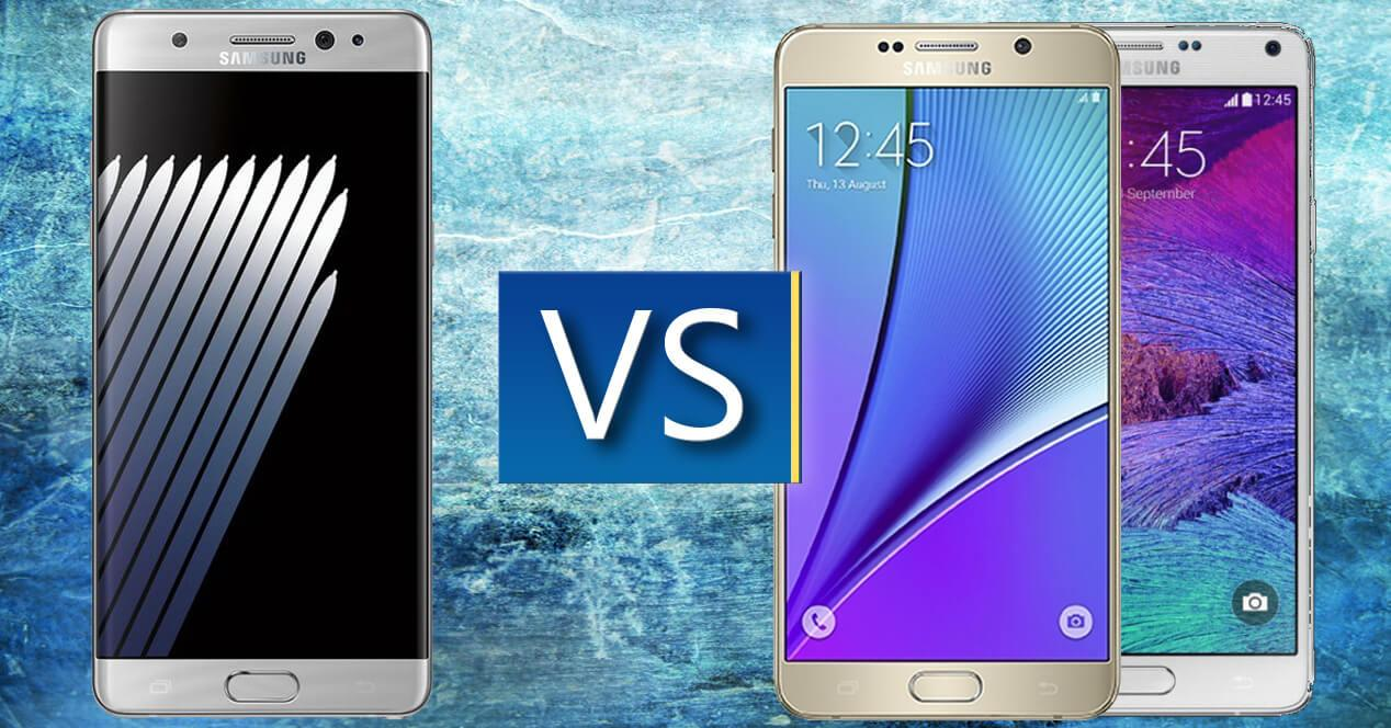 Samsung galaxy note 7 vs note 5 y 4