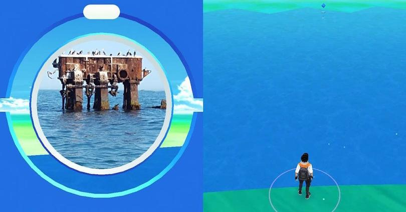 pokeparada en medio del mar