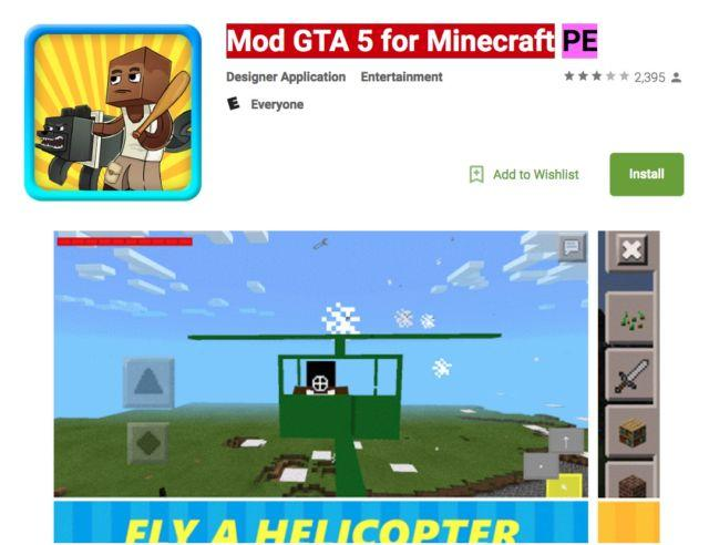 mod gta 5 minecraft PE en google play