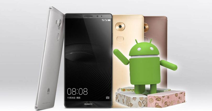 Huawei Mate 8 con logo android nougat