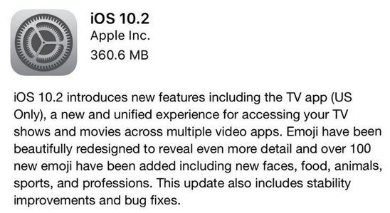 ios 10.2 changelog