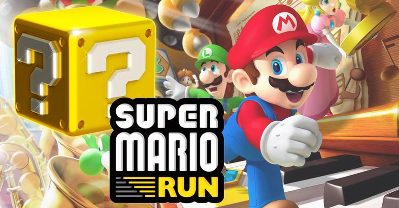 super mario run bloque y logo