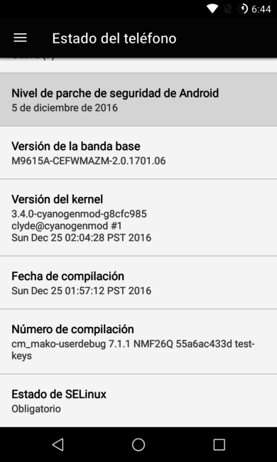 Parches de seguridad de Android en Nexus 4 CM14.1