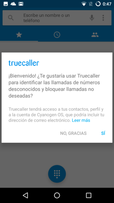 App truecallere en el Wileyfox Swift 2 Plus