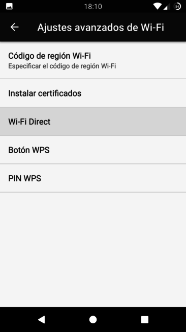 Ajustes Wi-Fi Direct en Android