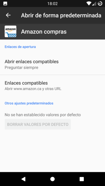 Enlaces de apertura Amazon Android 7 Nougat
