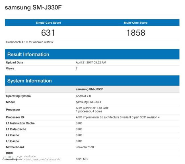 samsung galaxy j3 geekbench