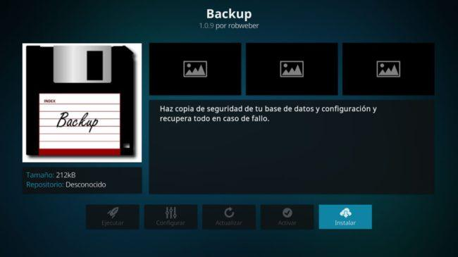 Instalar add-on backup Kodi Android