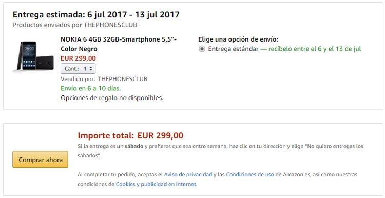 Compra del Nokia 6 a través de Amazon