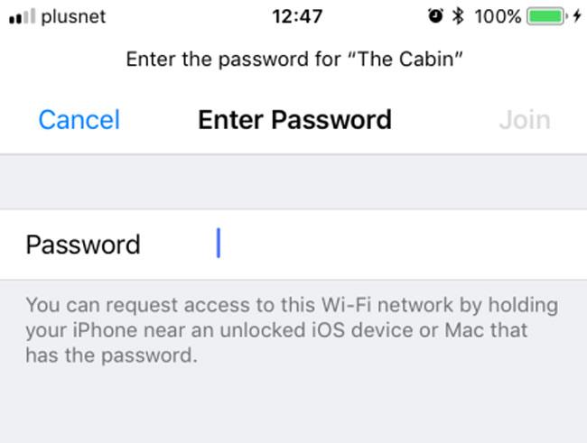 Solicitud de contraseña de una red WiFi en iPhone con iOS 11