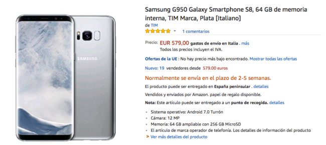 samsung galaxy s8 amazon italia