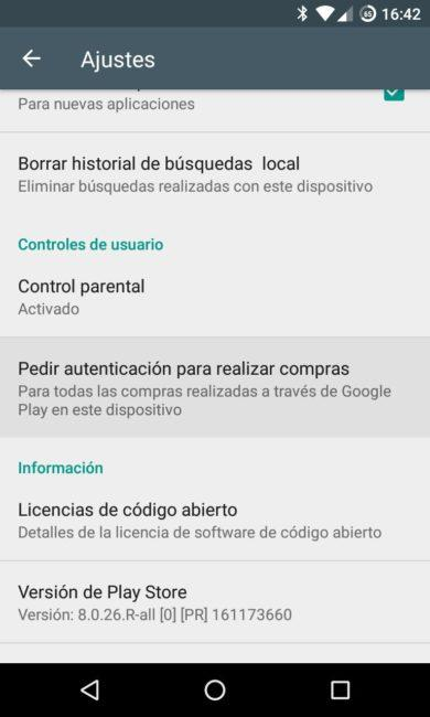 Play Store - Control Parental - Autenticacion