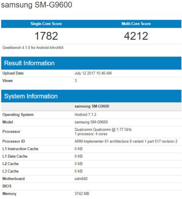 galaxy s8 lite geekbench