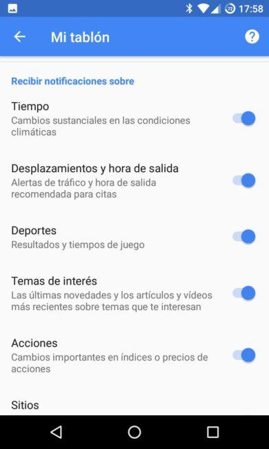 Tablón notificaciones Google Now Android