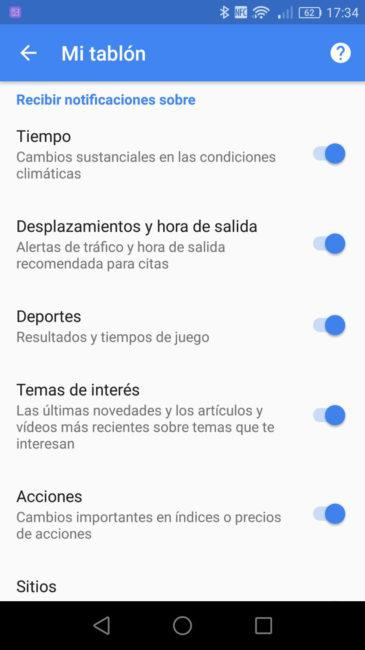 Notificaciones Google Now