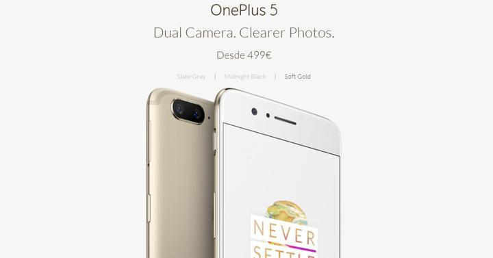 Aspecto del OnePlus 5 Soft Gold